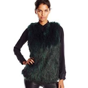 NWT Jessica Simpson deep teal green faux fur vest